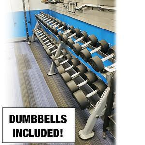 5-80lb. Round Rubber Dumbbell Set with Paramount Rack Floor Model, Chicago