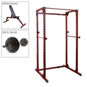Best Fitness Power Rack Package 1 with Bench, Weight Set