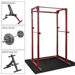 Best Fitness Power Rack Package 2 with Bench, 300lb. Weight Set