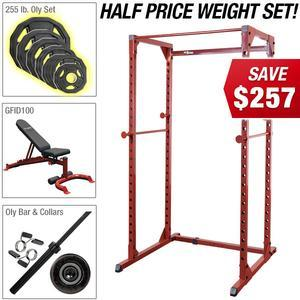 RED POWER RACK PACKAGE with Half Price Olympic Plate Set! (BFPR100KAM)
