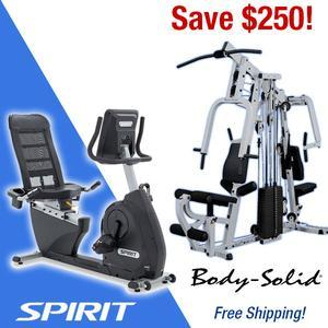 Save $250 on the Body-Solid EXM2500S Home Gym when purchased with the Spirit XBR25 Recumbent Bike