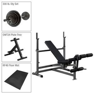 Body-Solid PowerCenter Bench Package with 300lb. Weight Set (GDIB46LFFO8)