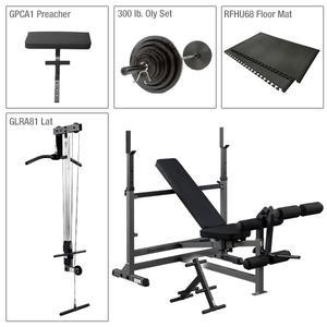 Body-Solid PowerCenter Bench Package with Lat, Weight Sets