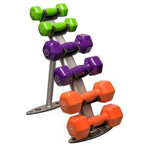 Small Vinyl Dumbbell Set with Rack