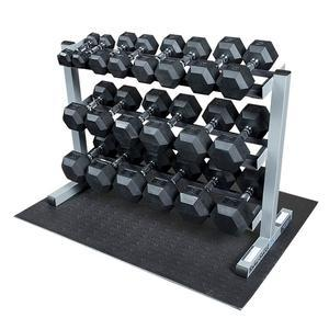 Body-Solid 5-50lb. Rubber Dumbbell Package with Rack (GDR363-SET)