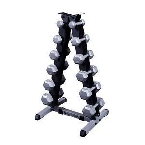 5-30 lb. Cast Iron Hex Dumbbell Set with the Body-Solid GDR44 Rack