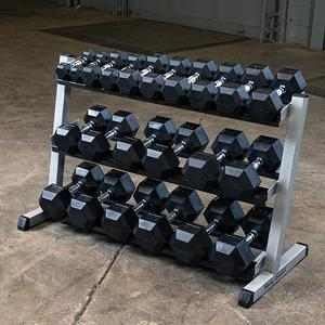 RUGGED 5-50 lb. Rubber Dumbbell Set with GDR48 Commercial Rack