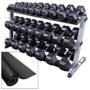 Body-Solid 5-70 Pound Rubber Dumbbell Package with Rack (GDR60-HEAVYSET)