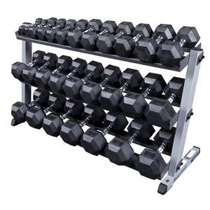 Body-Solid 5-70 Pound Rubber Dumbbell Package with Rack