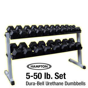 Hampton 5-50 lb. Urethane Dura-Bell Dumbbell Set with Rack
