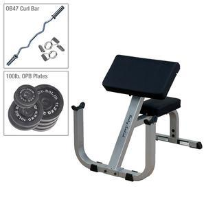 Body-Solid GPCB329 Preacher Curl with Bar, 100lbs. Plates (GPCB329P4)
