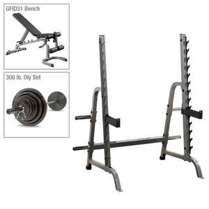 Body-Solid Press Rack Package with Bench, Weight Set