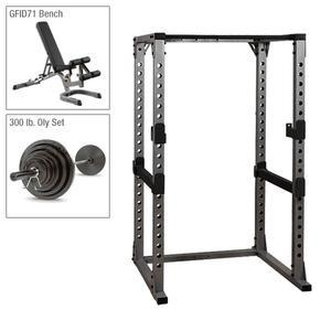 Body-Solid Power Rack Package with GFID71 Bench and 300lb. Weight Set