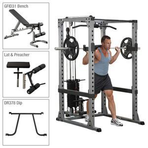 Body-Solid Power Rack Package with Lat and Weight Stack, plus Weight Bench with Attachments