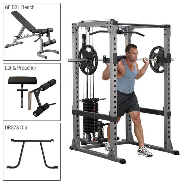 Body-Solid Power Rack Package with Lat - GPR378P4
