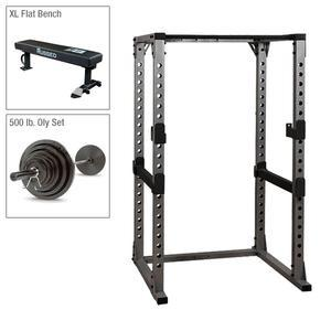 Body-Solid Power Rack Package with Weight Bench and 500lb. Weight Set