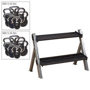 Body-Solid Double Chrome Kettlebell Package with Rack