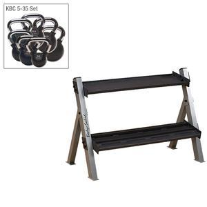 Body-Solid Chrome Kettlebell Package with Rack (KBC535SET)
