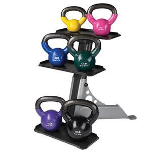 70 Pound Vinyl Kettlebell Package with Rack