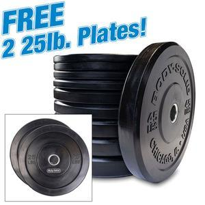 260lb. Chicago Extreme Bumper Plate Set with Free Plates