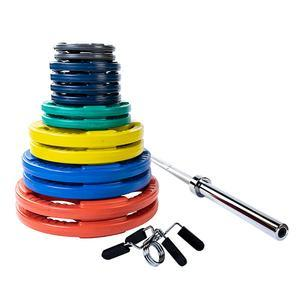 300 Pound Color Grip Olympic  Weight Plate Set with 7' Barbell