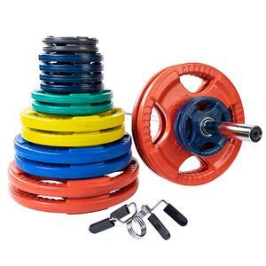400 Pound Color Grip Olympic  Weight Plate Set with 7' Barbell