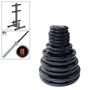 300lb. Rubber Grip Olympic Weight Set with Rugged Olympic Bar and Weight Tree (ORST300KIT)