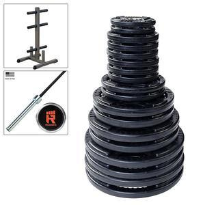 400lb. Rubber Grip Olympic Weight Set with Rugged Olympic Bar and Weight Tree