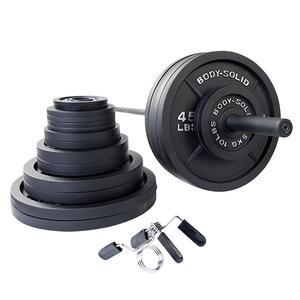 500 Pound Olympic Weight Plate Set with 7' Barbell