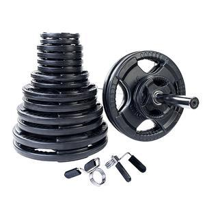 400 Pound Rubber Grip Olympic Weight Plate Set with 7' Barbell
