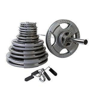 400 Pound Steel Grip Olympic Weight Plate Set with 7' Barbell
