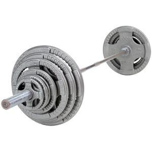 500 lb. Olympic Steel Grip Weight Plate Set with 7' Barbell