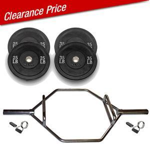 Trap Bar Package with Raised Handles and 120lb. Bumper Plates (OTB50RHP120)