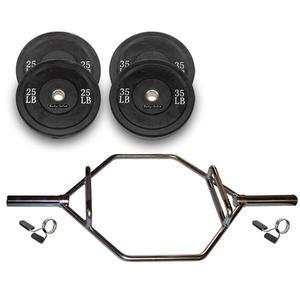 Shrug Bar Raised Handles with 120lb. Bumper Plates Package