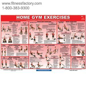 Laminated Poster Home Gym Exercises