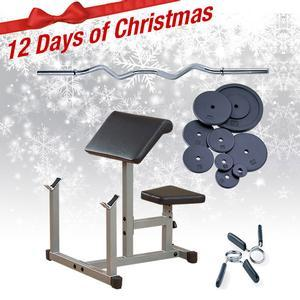 Powerline PPB32X Preacher Bench with Bar, 75lbs. Plates