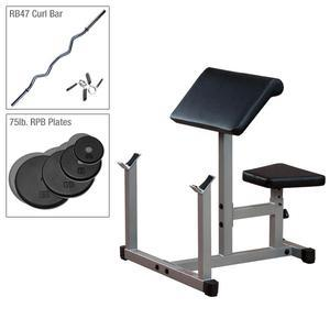 Powerline PPB32X Preacher Bench with Bar, 75lbs. Plates (PPB32P2)