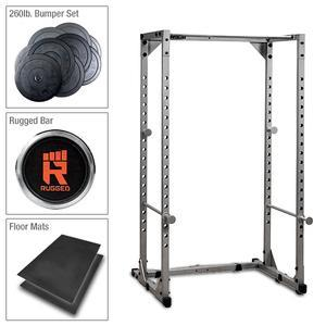 Powerline Power Rack Package with Extreme Bumper Set, Barbell, and Rubber Mats