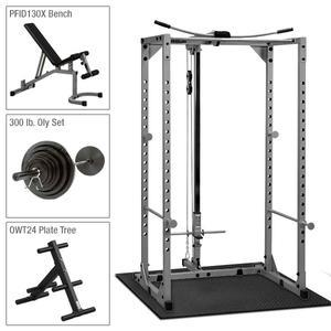 Powerline Power Rack PPR200X Package, Bench, Lat, 300lb. Set, Mat (PPR200XP4)