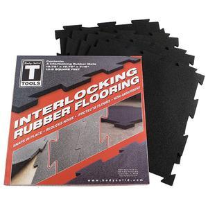 Body-Solid Tools Rubber Puzzle Mats Box of 4, Black