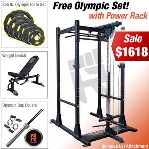 RUGGED POWER RACK PACKAGE with Free Olympic Plate Set! (RUGGEDKAMPACK)