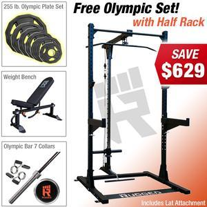 RUGGED HALF RACK PACKAGE with Free Olympic Plate Set! (RUGGEDKAMPACKY120)