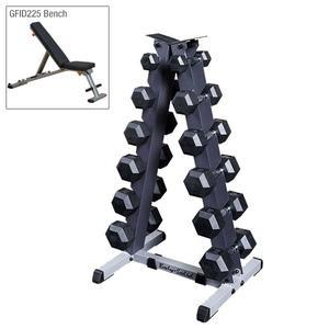 5-30 lb. Rubber Dumbbell Package with Rack and Weight Bench
