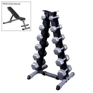 Body-Solid 5-30lb. Hex Dumbbell Package with Powerline Weight Bench (SDX530SETB)