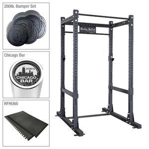 Body-Solid SPR1000 Commercial Power Rack Package with Bumper Set, Barbell, and Platform Mat