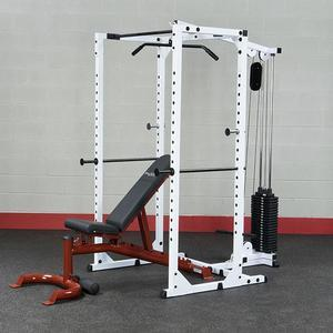Body-Solid Power Rack and Lat Station Package with Bench