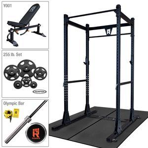 Rugged Power Rack Package with 255 lb. Hampton Plate Set, Weight Bench, Oly Bar, Floor Mats