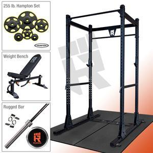 RUGGED POWER RACK PACKAGE with 255 lb. Hampton Plate Set & Rugged Weight Bench (Y100HAMP255)