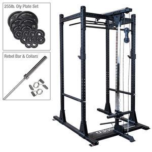 Rugged Olympic Power Rack Package with Lat and Weight Set (Y100P1)