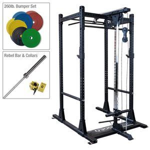 Rugged Warrior Power Rack Package with Lat and Bumper Set (Y100P2)
